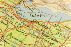 Geographic map of Cleveland close. Up royalty free stock images