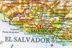 Geographic map of country El Salvador close. Up stock photo