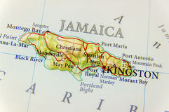Geographic map of country Jamaica close Royalty Free Stock Image