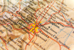 Geographic map of Denver city close stock photography
