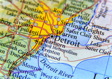 Geographic map of Detroit close Royalty Free Stock Photos