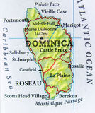 Geographic map of Dominica country with important cities royalty free stock images
