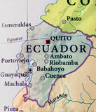 Geographic map of Ecuador countries with important cities. Close Royalty Free Stock Image