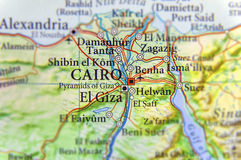 Geographic map of Egypt with capital city Cairo Stock Image