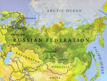 Geographic map of European and Asian country Russia Royalty Free Stock Photography