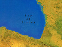 Geographic map of European Bay of Biscay. Close Royalty Free Stock Photography