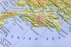 Geographic map of European Bering Sea. Close stock photography