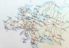Geographic map of European countries with highroad close. Up Stock Photography