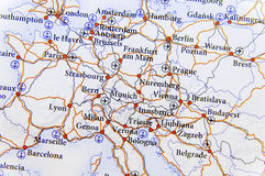 Geographic map of European countries with highroad close. Up stock images
