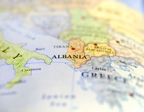 Geographic map of European country Albania with important cities Royalty Free Stock Photos