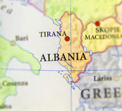Geographic map of European country Albania with important cities Stock Photography