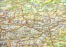 Geographic map of European country Austria with important cities Stock Photos