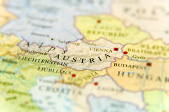 Geographic map of European country Austria with important cities Stock Photo