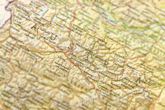 Geographic map of European country Austria with important cities Stock Image