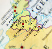 Geographic map of European country Belgium with important cities Stock Image