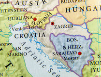 Geographic map of European country Croatia with important cities Stock Images