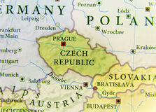 Geographic map of European country Czech Republic with important cities Stock Photography