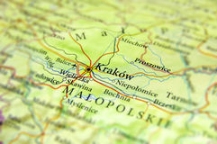 Geographic map of European country Czech Republic with Krakow ci Royalty Free Stock Images
