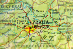 Geographic map of European country Czech Republic with Praha cit Stock Images