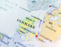 Geographic map of European country Denmark with important cities. CLOSE Royalty Free Stock Photos
