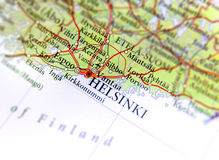 Geographic map of European country Finland with Helsinki capital city. Close Stock Images