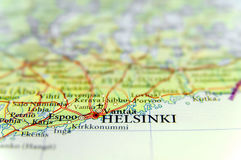 Geographic map of European country Finland with Helsinki capital city. Close Stock Photos