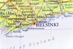 Geographic map of European country Finland with Helsinki capital city. Close Royalty Free Stock Photo