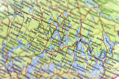 Geographic map of European country Finland with important cities Stock Image