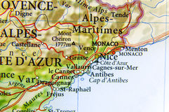 Geographic map of European country France with Nice city Royalty Free Stock Images