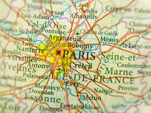 Geographic map of European country France with Paris capital cit. Y close Stock Photos