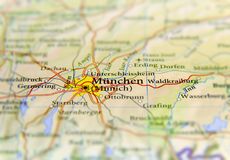 Geographic map of European country Germany with Munich city. Close stock photos