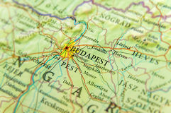 Geographic map of European country Hungary with Budapest city. Close royalty free stock photo