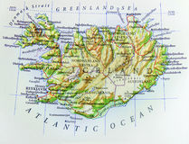 Geographic map of European country Iceland with important cities. Close stock photography