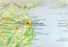 Geographic map of European country Ireland with Dublin capital city. 1 Royalty Free Stock Photo
