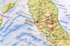 Geographic map of European country Italy with capital city Rome. Close Stock Photography