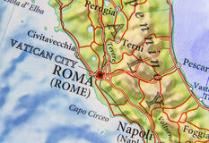 Geographic map of European country Italy with capital city Rome. Close Royalty Free Stock Photo