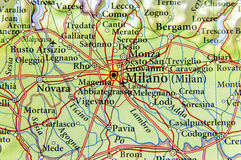 Geographic map of European country Italy with Milano city. 1 Stock Photography