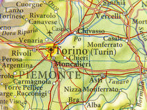 Geographic map of European country Italy with Torino city Stock Photos