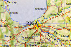 Geographic map of European country Latvia with city Riga Stock Photography