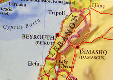 Geographic map of European country Lebanon with important cities Royalty Free Stock Images