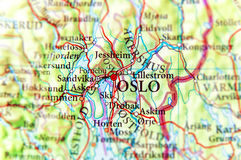 Geographic map of European country Norway with Oslo capital city Stock Photo