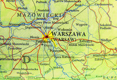 Geographic map of European country Poland with Warsaw city Stock Image
