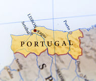 Geographic map of European country Portugal with important cities Stock Images