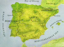 Geographic map of European country Portugal and Spain with important cities Royalty Free Stock Photography