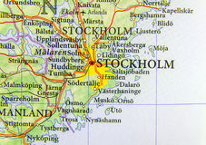 Geographic map of European country Sweden with capital city Stockholm. Close Royalty Free Stock Images