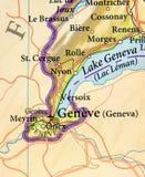 Geographic map of European country Switzerland with Geneva city stock image
