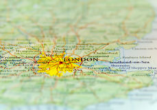 Geographic map of European country UK with London capital city. Close Royalty Free Stock Photo