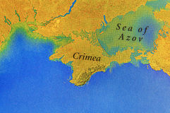 Geographic map of European Crimea and Sea of Azov Royalty Free Stock Photos