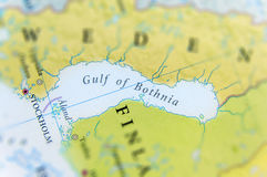 Geographic map of European Gulf of Bothnia. Close Royalty Free Stock Photography