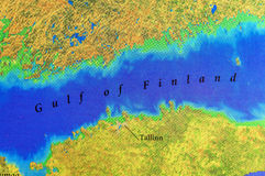 Geographic map of European Gulf of Finland stock illustration